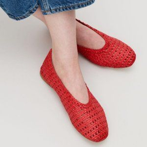 COS Braided Flats Basket Weave Slip Ons Woven Leat